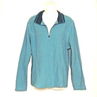 Lands End Pullover Blue Shirt  Size Large  Velour