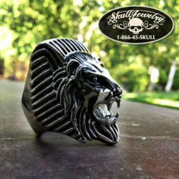 'Egyptian Lion' Stainless Steel Skull Ring (358)