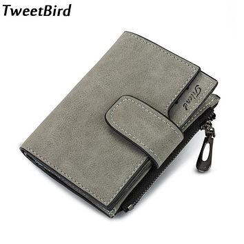 Tweet Bird Women Wallet Money Clip Fashion Vintage Leather Zipper Small Wallet Purse Female Money Bag Small Zipper Coin Pocket