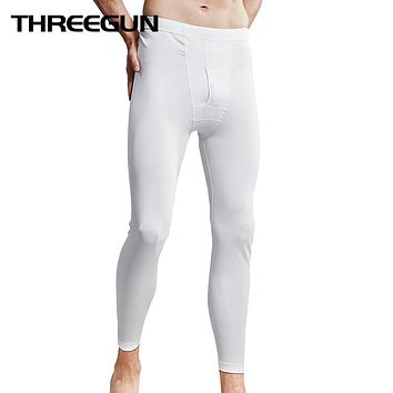 Winter Men Long Johns Underwear Ultra-Soft Solid Smooth Thin Thermal Underwear Men's Pajamas Mid Waist Underpants