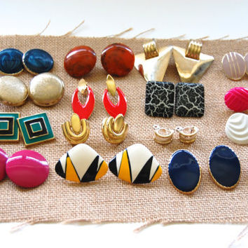 Vintage 1980's Earring Lot, Gold Tone, Bright Colored Earrings, 16 pairs, Costume Jewelry