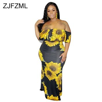 Sunflower Print Sexy Plus Size Dress Women Slash Neck Short Sleeve Beach Long Dress Summer  Off Shoulder Backless Boho Maxi Robe