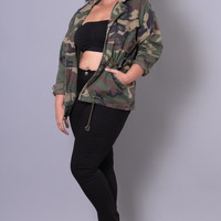 Plus Size Camouflage Military Jacket - Camo Print