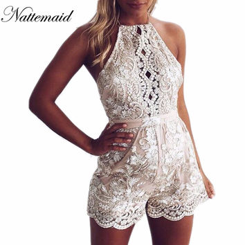 Sexy gold lace bodysuit women Mesh jumpsuit Rompers 2017 Spring haler neck outfits one piece  bodysuits for women Overalls