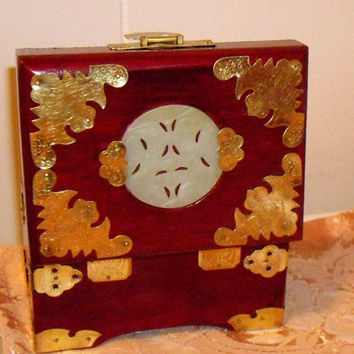 Vintage Chinese Jewelry Box, lacquered wood with etched brass, white jade