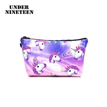 Under Nineteen 2017 Cartoon Kawaii Make Up Bag 3D Printing Women Cosmetic Bags Neceser Beauty Travel Toiletry Organizer Bag Gift