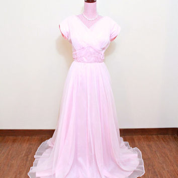 1950s Dress / VINTAGE / 50s Gown / Pastel Pink / Chiffon / Beaded / Floor Length