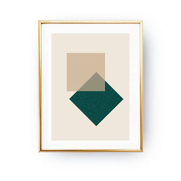 Geometric Shapes, Watercolor Print, Simple Art, Green Beige Art, Squares Poster, Pastel Wall Art, Minimalist Poster, Geometric Textures