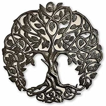 Celtic Inspired Tree of Life, Metal Wall Art, Home Decor Fair Trade from Haiti, Infinity Knots 23 inches Round
