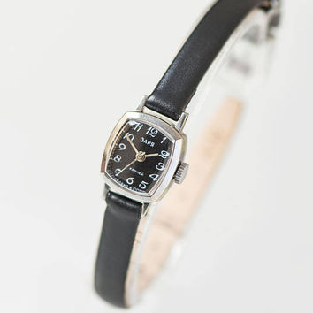 Black face women's wrist watch silver shade, rectangular tiny lady watch Seagull, vintage women's watch petite, genuine leather strap new