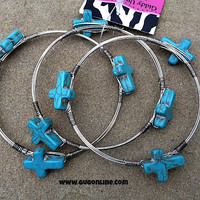 Set of 3 Silver Bangles with Turquoise Crosses