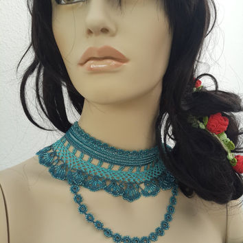 SALE-Mother's Day Gifts / Jewelry,Allure - Blue ... Beaded Necklace - Beadwork Crochet Necklace,Valentine,Style Necklace,Choker,Strant