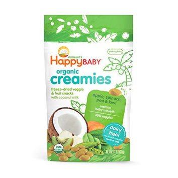 Happy Baby Organic Creamies Freeze-Dried Veggie & Fruit Snacks with Coconut Milk, Apple, Spinach, Pea & Kiwi, 1 oz (Pack of 8) - Packaging may vary