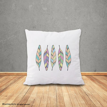 Feathers Pillow Case-Feathers pillow cover-boho cushion cover-tribal pillow-home decor-hipster-doodle pillow-design by NATURA PICTA-NPCP054