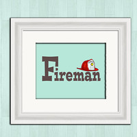 Fireman boys room printable digital art, instant download, nursery wall decor, boys room wall art, fire chief art print, nursery room decor