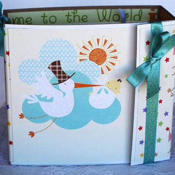 Baby Boy or Baby Girl Scrapbook Album,  Mini Album, Stork Baby Shower Gift, photo album