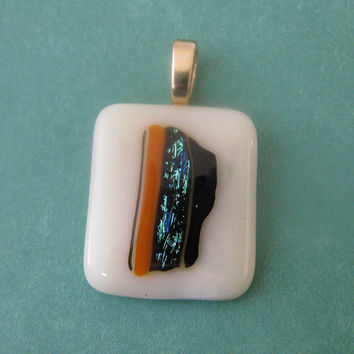 Fused Glass Pendant, Fused Glass Jewelry, Glass Slide - Opportunities Knock  by mysassyglass