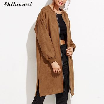 2017 spring fashion camel long trench coat as mulheres front zipper suede femme elegant overcoat vintage cardigan Mujer