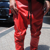 Handmade Red Faux Leather Drop Crotch  Harem by GAGONTHISTHREADS
