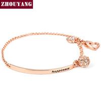 OL Style CZ  Rose Gold Plated Ball Fashion Party Charm Bracelets & Bangles Jewelry ZYH196