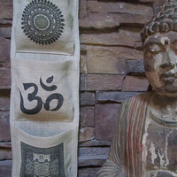 OM /Hindu Art Burlap Wall Pocket