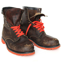 Brown Work Boot with Blaze Orange Commando Sole