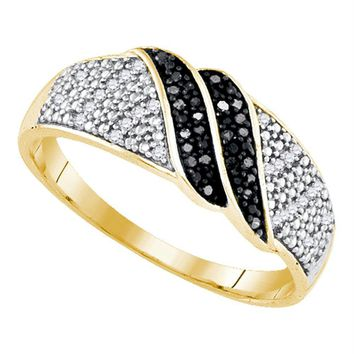 Yellow-tone Sterling Silver Women's Round Black Color Enhanced Diamond Double Stripe Band 1-6 Cttw - FREE Shipping (US/CAN)