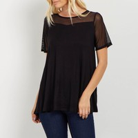 Black-Mesh-Accent-Top