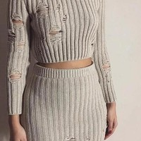 Yeezy Style Fall L/S Ripped Sweater Skirt Set