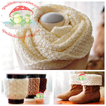CROCHET NECKWARMER PATTERN Includes Crochet Pattern for Neck Warmer, Boot Cuffs and Cozy Brighton Trio Crochet Pattern