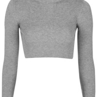 PETITE Funnel Neck Ribbed Crop Top - Topshop