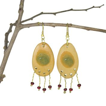 Handmade; Oval Metal Fringe Nerikomi Earrings; Mustard
