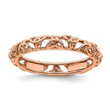 Sterling Silver Stackable Expressions Rose Gold-Plated Celtic Knot Eternity Ring