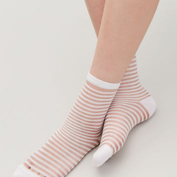 STRIPED SHEER SOCKS - White - Socks & Tights - COS GB