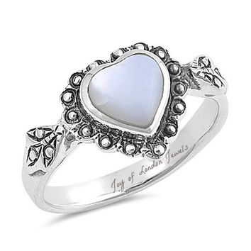 Mother of Pearl Heart Love Promise Ring