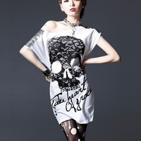 Fashion Woman Skull t shirt clothing Skeleton Summer Short Sleeve Tee Tops loose medium-long plus size batwing  Punk Metallic Shoulder Stud = 1946235076