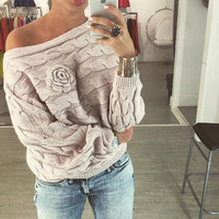 Women's Fashion Batwing Sleeve Twisted Knit Tops Sweater [4956168452]