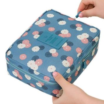 VOND4H Women Makeup bag Cosmetic bag Case Make Up Organizer Toiletry Storage Neceser Rushed Floral Nylon Zipper New Travel Wash pouch