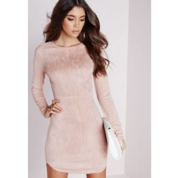 Missguided - Suede Curve Hem Bodycon Dress Camel