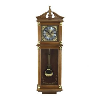 Bedford Clock Collection 34.5 Antique Chiming Wall Clock with Roman Numerals in a Harvest Oak Finish
