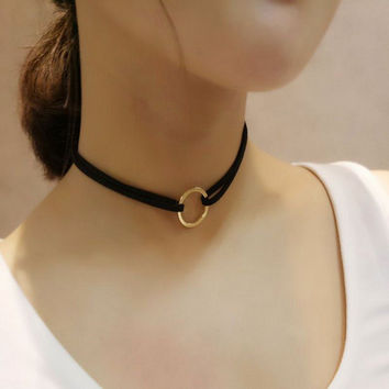 Vintage Gold Simple Ribbon Necklaces Women Circle Choker Bib Necklace Collier Femme For Women Fashion Jewelry 2016 New