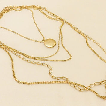 Citation Gold Toned Multi Strand  Locket Necklace