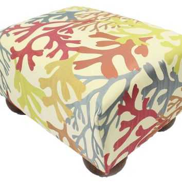 Tropical Bay Coral Upholstered Fabric Footstool Ottoman