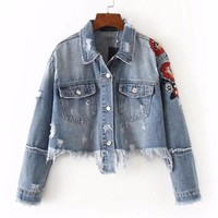 Embroidered Floral Cropped Denim Jacket