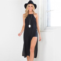 Summer Spaghetti Strap Split One Piece Dress [4966207044]