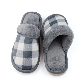 Men Home Plaid Slippers Fleece Warm Winter Anti Slip Slippers Thicken High Quality Indoor Slippers Fashion Man Shoes
