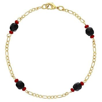 In Season Jewelry 18k Gold Plated Simulated Azabache Bracelet Chain Link Evil Eye Protection 75quot