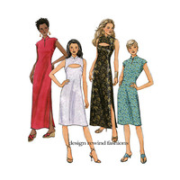 Butterick 4796 DRESS PATTERN Keyhole Neck Standing Mandarin Collar Evening Gown Cocktail Dress Size 6 8 10 12 UNCuT Womens Sewing Patterns