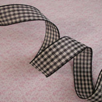 Black and Cream Gingham Ribbon, 1 1/2 In Wide, Wired Edge, 5 YARDS