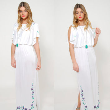 Vintage 70s FLUTTER Sleeve Maxi Dress Floral Print Dress Blouson GRECIAN Style Dress Boho Dress